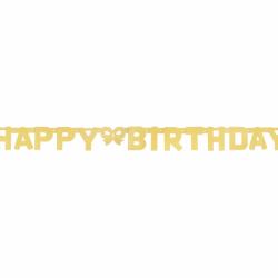 Γιρλάντα Happy Birthday Glitter χρυσή