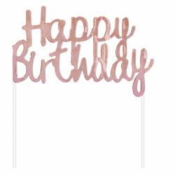 Διακοσμητικό Τούρτας Happy Birthday ροζ-χρυσό