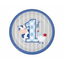 Πιάτα χάρτινα  Πρώτα γενέθλια η Φάρμα των Ζώων Γαλάζιο 8τεμ