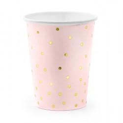 Ποτήρια Χάρτινα  Ροζ με χρυσα dots 6 τεμ.