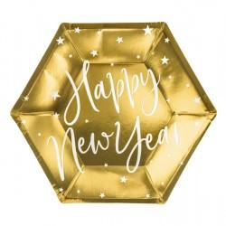 Πιάτα Χρυσά Happy New Year 20εκ 6τεμ