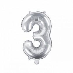 Μπαλόνι Αριθμός 3 -Ασημί 35εκ