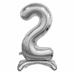 Μπαλόνι Νούμερο 2 Ασημί με βάση 74cm