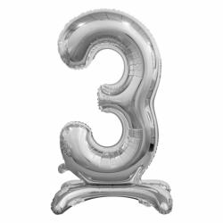 Μπαλόνι Νούμερο 3 Ασημί με βάση 74cm