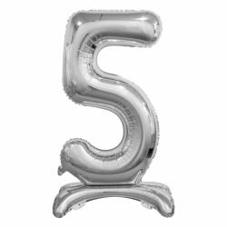 Μπαλόνι Νούμερο 5 Ασημί με βάση 74cm