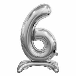 Μπαλόνι Νούμερο 6 Ασημί με βάση 74cm