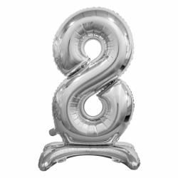 Μπαλόνι Νούμερο 8 Ασημί με βάση 74cm