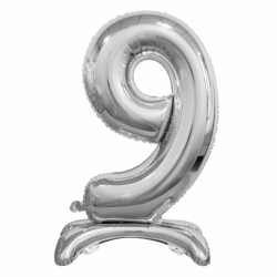 Μπαλόνι Νούμερο 9 Ασημί με βάση 74cm