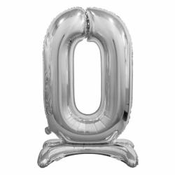 Μπαλόνι Νούμερο 0 Ασημί με βάση 74cm