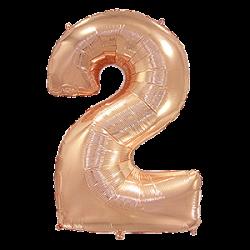 Μπαλόνι Αριθμός 2 Ροζ-Χρυσό 90εκ.