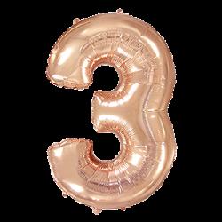 Μπαλόνι Αριθμός 3 Ροζ-Χρυσό 90εκ.