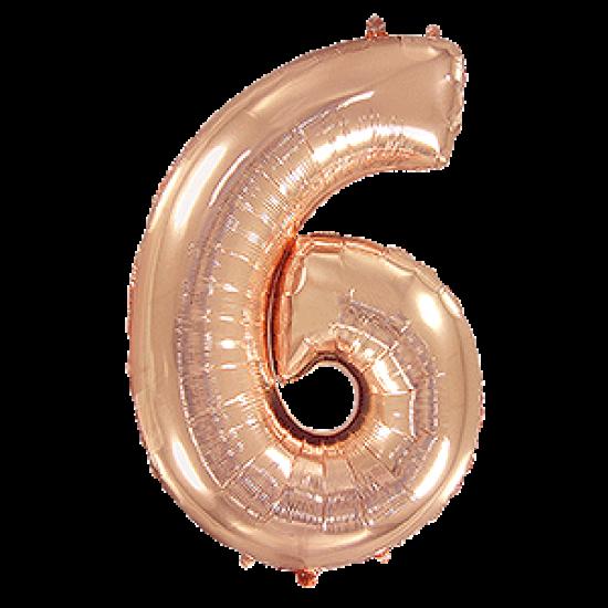 Μπαλόνι Αριθμός 6 Ροζ-Χρυσό 90εκ.