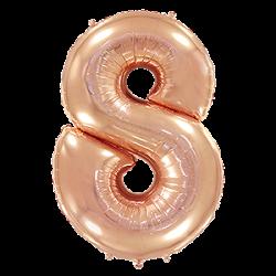 Μπαλόνι Αριθμός 8 Ροζ-Χρυσό 90εκ.