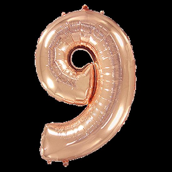 Μπαλόνι Αριθμός 9 Ροζ-Χρυσό 90εκ.