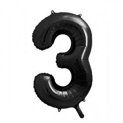 Μπαλόνι Αριθμός 3 Μαύρο 90εκ.