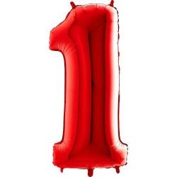 Μπαλόνι Αριθμός 1 Κόκκινο 90εκ.