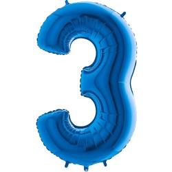 Μπαλόνι Αριθμός 3 Μπλέ 90εκ.