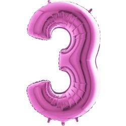 Μπαλόνι Αριθμός 3 Φούξια 90εκ.