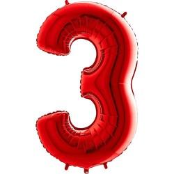 Μπαλόνι Αριθμός 3 Κόκκινο 90εκ.