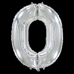 Μπαλόνι Αριθμός 0 Ασημί 90εκ.