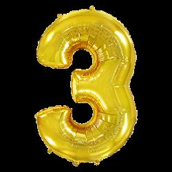 Μπαλόνι Αριθμός 3 Χρυσό 90εκ.