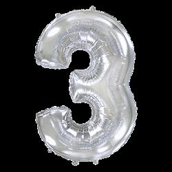 Μπαλόνι Αριθμός 3 Ασημί 90εκ.