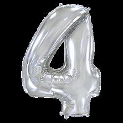 Μπαλόνι Αριθμός 4 Ασημί 90εκ.
