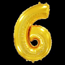 Μπαλόνι Αριθμός 6 Χρυσό 90εκ.