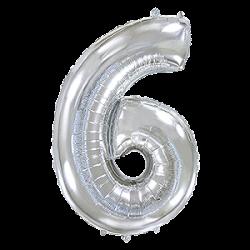 Μπαλόνι Αριθμός 6 Ασημί 90εκ.