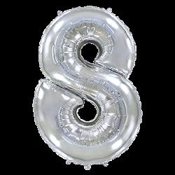 Μπαλόνι Αριθμός 8 Ασημί 90εκ.