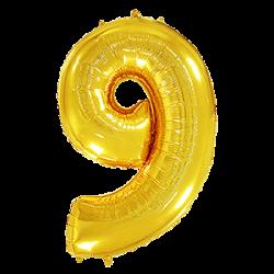 Μπαλόνι Αριθμός 9 Χρυσό 90εκ.