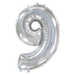 Μπαλόνι Αριθμός 9 Ασημί 90εκ.