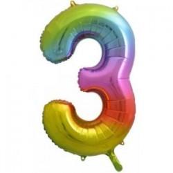 Μπαλόνι Αριθμός 3 Rainbow 78εκ.
