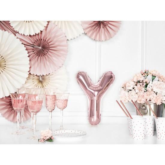 Μπαλόνι Γράμμα Y Ροζ-Χρυσό 35εκ