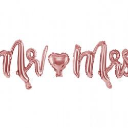 Foil Μπαλόνι Mr & Mrs  Ροζ-Χρυσό