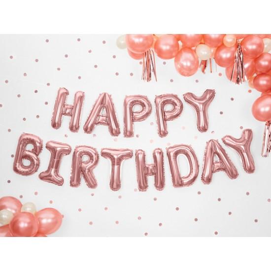 Foil Μπαλόνι Happy Birthday Ροζ Χρυσό