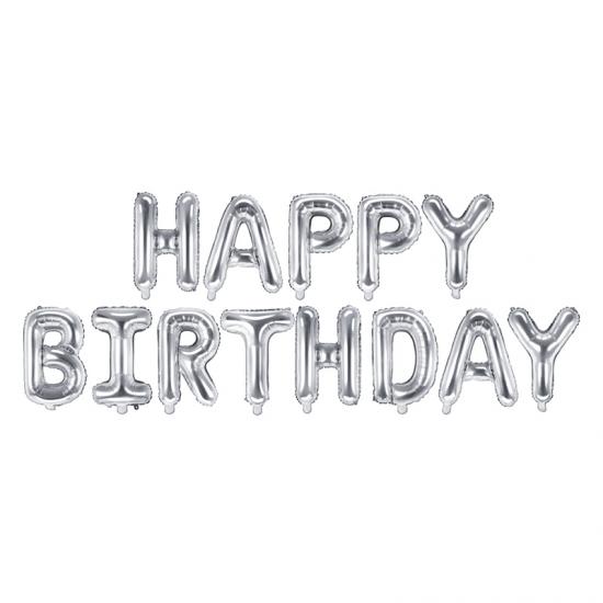 Foil Μπαλόνι Happy Birthday Ασημί