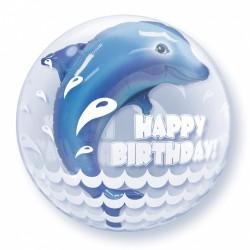 Μπαλόνι Double Bubble Happy Birthday Δελφίνι