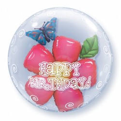 Μπαλόνι Double Bubble Happy Birthday Πεταλούδα