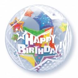 Μπαλόνι Double Bubble Happy Birthday Αστέρια