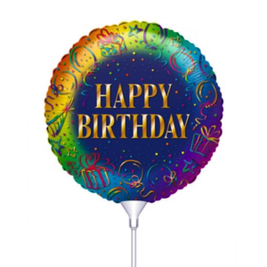 Μπαλόνι με καλαμάκι Happy Birthday Μπλε