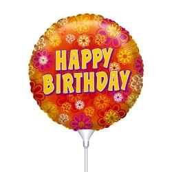 Μπαλόνι με καλαμάκι Happy Birthday πορτοκαλί