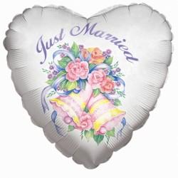 """18"""" καρδιά Just Married"""