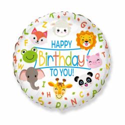 """18"""" στρογγυλό Happy Birthday Animals"""