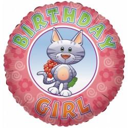 """18"""" στρογγυλό Happy Birthday Girl"""