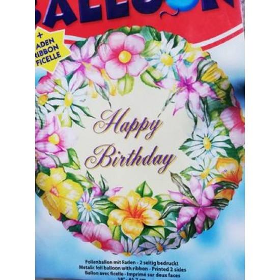 """18"""" στρογγυλό Happy Birthday Λουλούδια Ιβουάρ"""