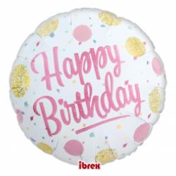 """14"""" στρογγυλό Happy Birthday με ήλιον"""