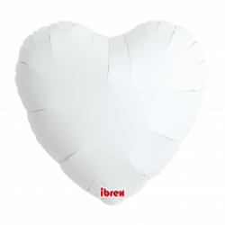 "18"" foil Καρδιά Λευκή με ήλιον"