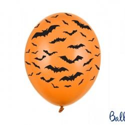 Latex Πορτοκαλί Μπαλόνια Halloween με Μαύρες Νυχτερίδες (1τμχ)